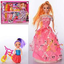 """Кукла типа """"Барби"""" 662A1  28 см, дочка 10 см, микс видов, велосипед, платья, с аксесс., в коробке"""