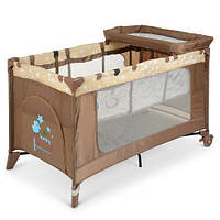 Манеж-кровать с пеленатором 3 в 1, 123*64*77 см, ME 1054, коричневый