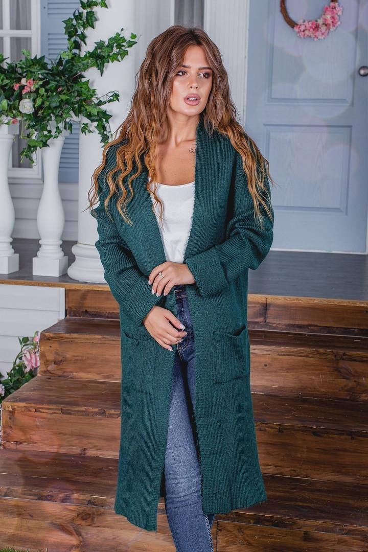 Жіночий стильний в'язаний кардиган акрил+шерсть розмір універсал 42-46