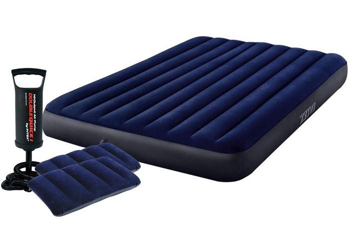 Матрац надувний 152х203х25 див. Велюровий Intex 64765 двомісний c насосом і подушками