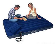 Матрац надувний 152х203х25 див. Велюровий Intex 64765 двомісний c насосом і подушками, фото 3