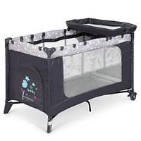 Манеж-кровать с пеленатором 3 в 1, 123*64*77 см, ME 1054, серый