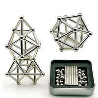 Магнитный конструктор серебристый NEO нео куб 7127 в коробке металлический 63 детали