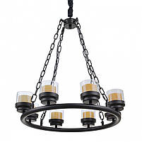 Люстра подвесная свеча лофт BL-387S/8 E27 BK, фото 2