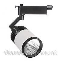 Светильник трековый поворотный LED светодиодный 405/20W CW COB WH/BK, фото 2