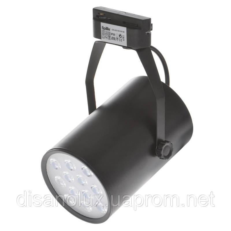 Светильник трековый поворотный LED светодиодный 422/12W WW BK