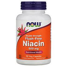 """Ніацин NOW Foods """"Niacin"""" без почервонінь, подвійної концентрації 500 мг (90 капсул)"""