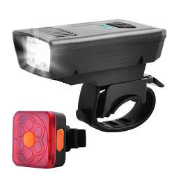 Фара велосипедная передняя+задняя YC-1803-1-XPE, габарит 6LED, аккум-р, ЗУ micro USB