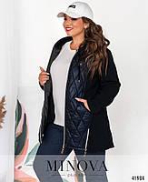 Приваблива куртка батал з підкладкою на місці простьобаних частин з 52 по 66 розмір, фото 4