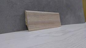 Напольный плинтус под дерево из МДФ Зебрано песочный 19*52*2800мм., бежево-коричневый