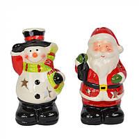 Новогодний подсвечник Huernia дед мороз и снеговик, разные цвета, подсвечник настольный, новогодний подсвечник
