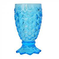 """Винтажный бокал из толстого стекла на ножке """"Anais"""" голубой, бокал цветной, бокал винтажный , фото 1"""
