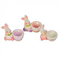 """Подставка для яиц """"Зайка"""" белые с розовым, подставка для яиц, подставка на одно яйцо"""
