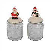 Баночка для сыпучих новогодняя Adenia стекло, керамика, 9х7см, с фигуркой 16см, баночки для сыпучих, баночка