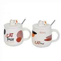 """Стильная кружка с крышкой для напитков """"Cat tour"""" кружки подарочные, кружка с крышкой , фото 1"""