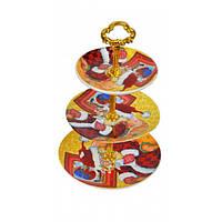 Подставка для пирожных-фруктовница Tsuga 3-х ярусная, керамика, 31х21см, фруктовница, подставка для пирожных