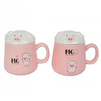 """Стильная кружка с крышкой для напитков """"Pig"""" кружки подарочные, кружка с крышкой , фото 1"""