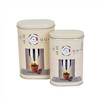 Набор банок для хранения продуктов Italian Coffee из 2 шт, жесть, 20х13х8,5см, 18х12,5х7см, набор банок,, фото 1