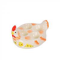 "Подставка для яиц ""Курочка"" белая с оранжевым, на 4 яйца, подставка для яиц, подставка на 4 яйца"