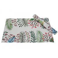Текстильные настольные салфетки для сервировки Etlingera белые с принтом, салфетки для стола, сервировочные