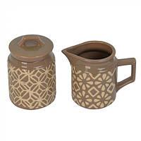 """Кухонный керамический набор молочник и сахарница """"Fantasy"""" коричневый, кухонный набор, набор молочник и"""