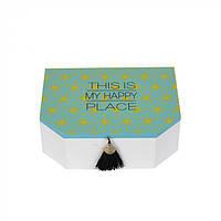 "Декоративная шкатулка для хранения украшений ""This is my happy place"" голубая, шкатулка для хранения, шкатулка декоративная, фото 1"