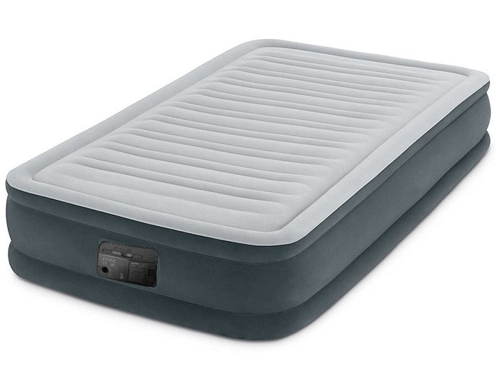 Кровать надувная 99х191х33 см. Велюровая Intex 67766 со встроенным насосом