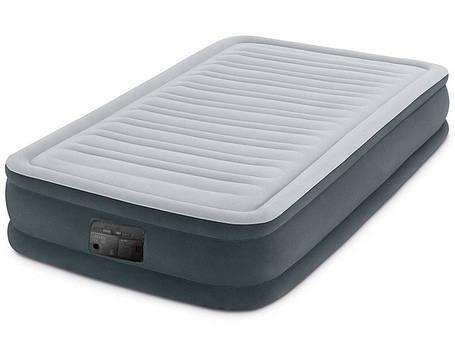 Кровать надувная 99х191х33 см. Велюровая Intex 67766 со встроенным насосом, фото 2