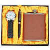 Набор мужской подарочный Glaucium в комплекте: фляга-нержавеющая сталь, 14х9,5см, часы, шариковая ручка, мужской набор, набор для мужчин