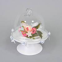 Декоративная цветочная композиция в вазе с колпаком для интерьера Cuphea цветочный декор, цветы под колпаком