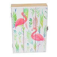 Ключница декоративная настенная Flamingo разные цвета, МДФ, 26х17х5,5см, на 6 крючков, ключница, ключница, фото 1