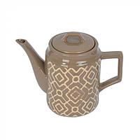 Керамический заварочный чайник Fantasy с крышкой, коричневый, 17х9см, 1л, заварочный чайник, чайник Fantasy