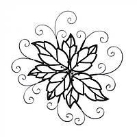 Декор для дома настенный цветок Elodea металл, черный, 103х12х84см, декор для дома, настенный цветок