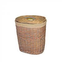 Корзина для хранения белья Knightia с крышкой, коричневый, лоза, 48х42х33см, корзины бельевые, плетеные корзины
