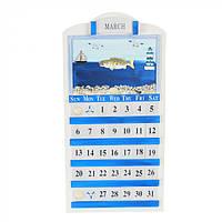Оригинальный настенный календарь Море синий, 46х28см, дерево, календарь настенный, календарь для декора