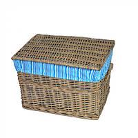 Корзина для хранения белья Kunzea с крышкой, коричневый, лоза, 31х45х35см, корзины бельевые, плетеные корзины