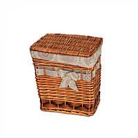 Корзина для хранения белья Kalmia с крышкой, коричневый, лоза, 35х32х20см, корзины бельевые, плетеные корзины
