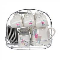 Чайный набор на подставке на 6 персон Cuminum 15 предметов, чашка 150мл, блюдце 12см, заварник 1л, молочник