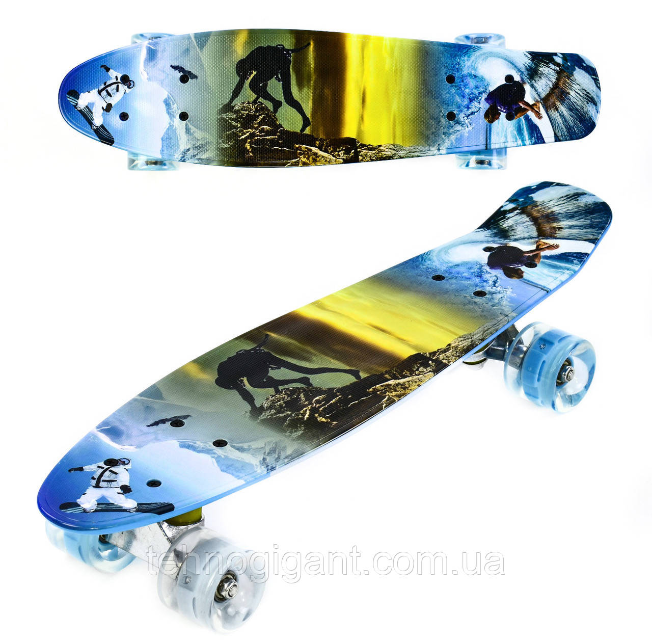 Скейт Penny Board, с широкими светящимися колесами Пенни борд, детский , от 5 лет расцветка Спорт