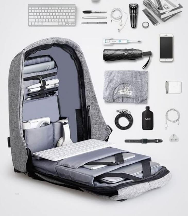 Унікальний рюкзак протикрадій під ноутбук Боббі Bobby з USB / з захистом від крадіжок Чорний/Сірий