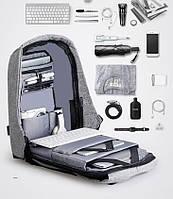 Унікальний рюкзак протикрадій під ноутбук Боббі Bobby з USB / з захистом від крадіжок Чорний/Сірий, фото 1