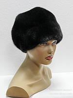 Женская норковая шапка с пуговицей.(черная)