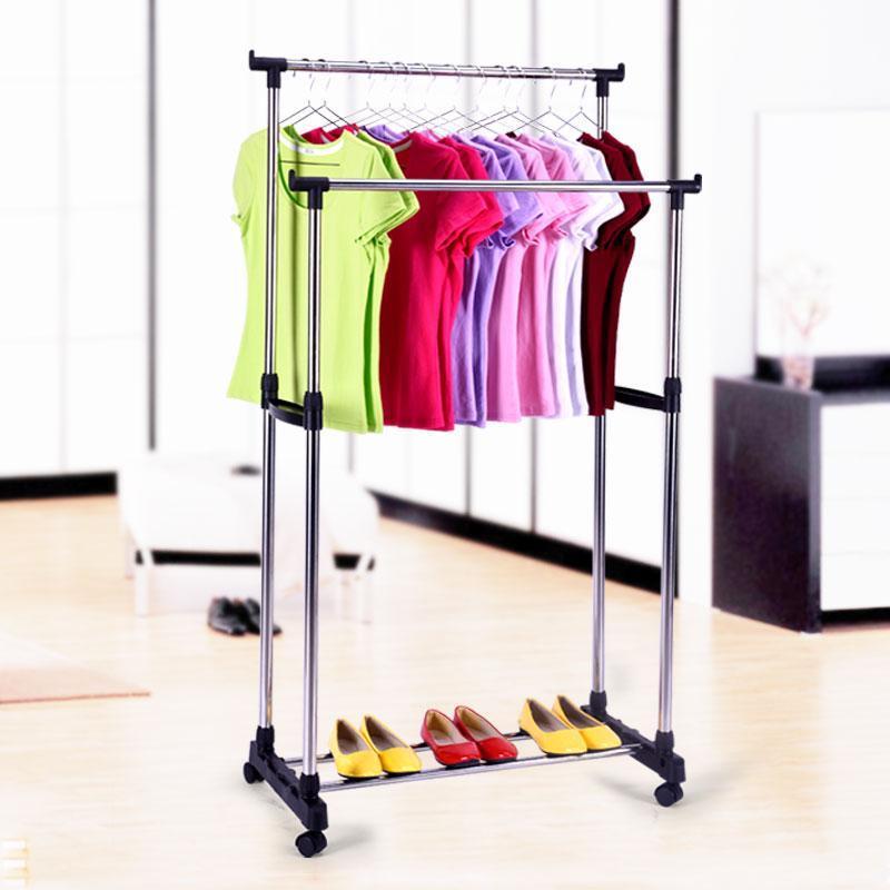 Вешалка стойка для одежды напольная двойная телескопическая Double-Pole Clothes-horse