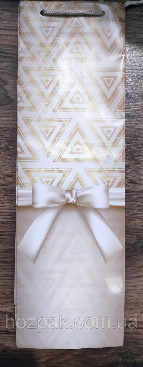 Пакет подарунковий паперовий пляшка 12х36х9