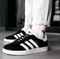 Мужские кроссовки Adidas Gazelle Black White черные с белым демисезонные осень весна. Живое фото