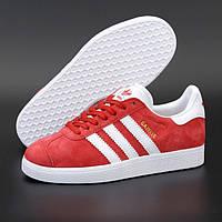 Мужские кроссовки Adidas Gazelle Red красные демисезонные осень весна. Живое фото