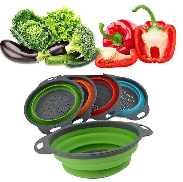 Миска дуршлаг силиконовая складной комплект из 2 шт Collapsible filter baskets салат фрукты