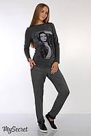 """Теплые брюки для беременных """"Millie"""", с отделкой из искусственной кожи, серые"""