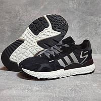 Кроссовки женские летние Adidas Nite Jogger Boost 3M черные кроссовки в стиле адидас, фото 1