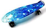 Скейт Penny Board, с широкими светящимися колесами Пенни борд, детский , от 4 лет, расцветка Космос, фото 2